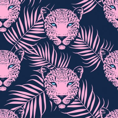 Leopard with palm leaves pattern