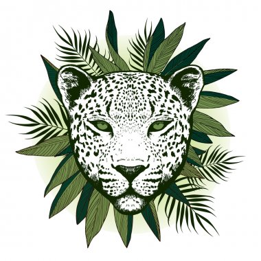 Graphical leopard  with palm leaves