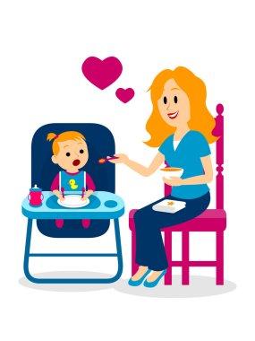 Mom Lovely Feeding Her Baby Girl Clipart