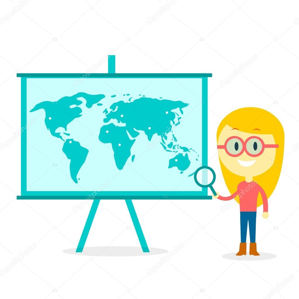 Searching all over the world archivo imgenes vectoriales a girl with glasses holding a magnifier in front of standing board with world map illustration on it in flat cartoon style vector de jacklooser gumiabroncs Choice Image