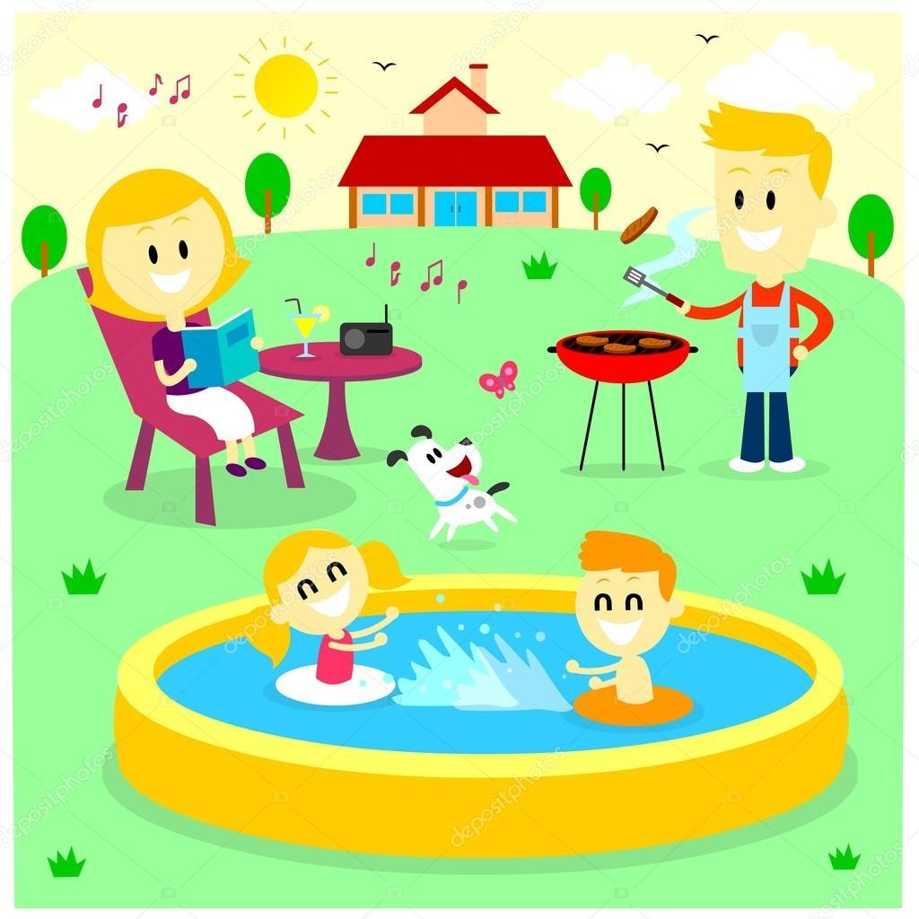 family fun time at the backyard house u2014 stock vector jacklooser