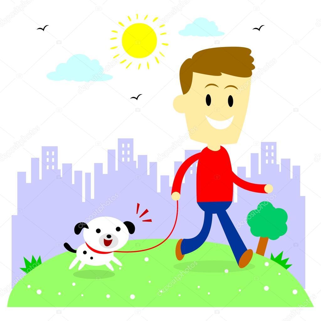 Ÿ�他的小狗在公园散步的人 ś�库矢量图像 169 Jacklooser 80732600