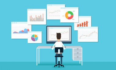 Business people analytic business graph and SEO on web