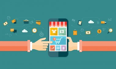 Business online shopping concept clip art vector