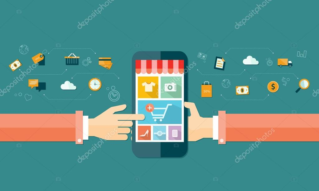 Business online shopping concept clipart vector