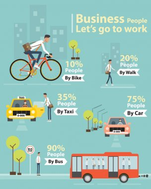 infographic business people let's go to work character