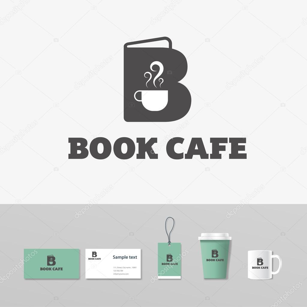 Buch-Café-Logo-Vorlage concept.coffee Shop. Attrappe, Lehrmodell ...