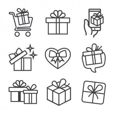 Gift box set vector icons. Logo illustration signs. Holiday shopping concept for birthday, box with bow, surprise packaging. Gift box linear style pictograms for web, mobile app, ui design. icon