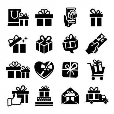 Gift box set of vector icons. Holiday shopping concept for birthday, box with bow, surprise packaging. Gift box linear style pictograms for web, mobile app, ui design. icon