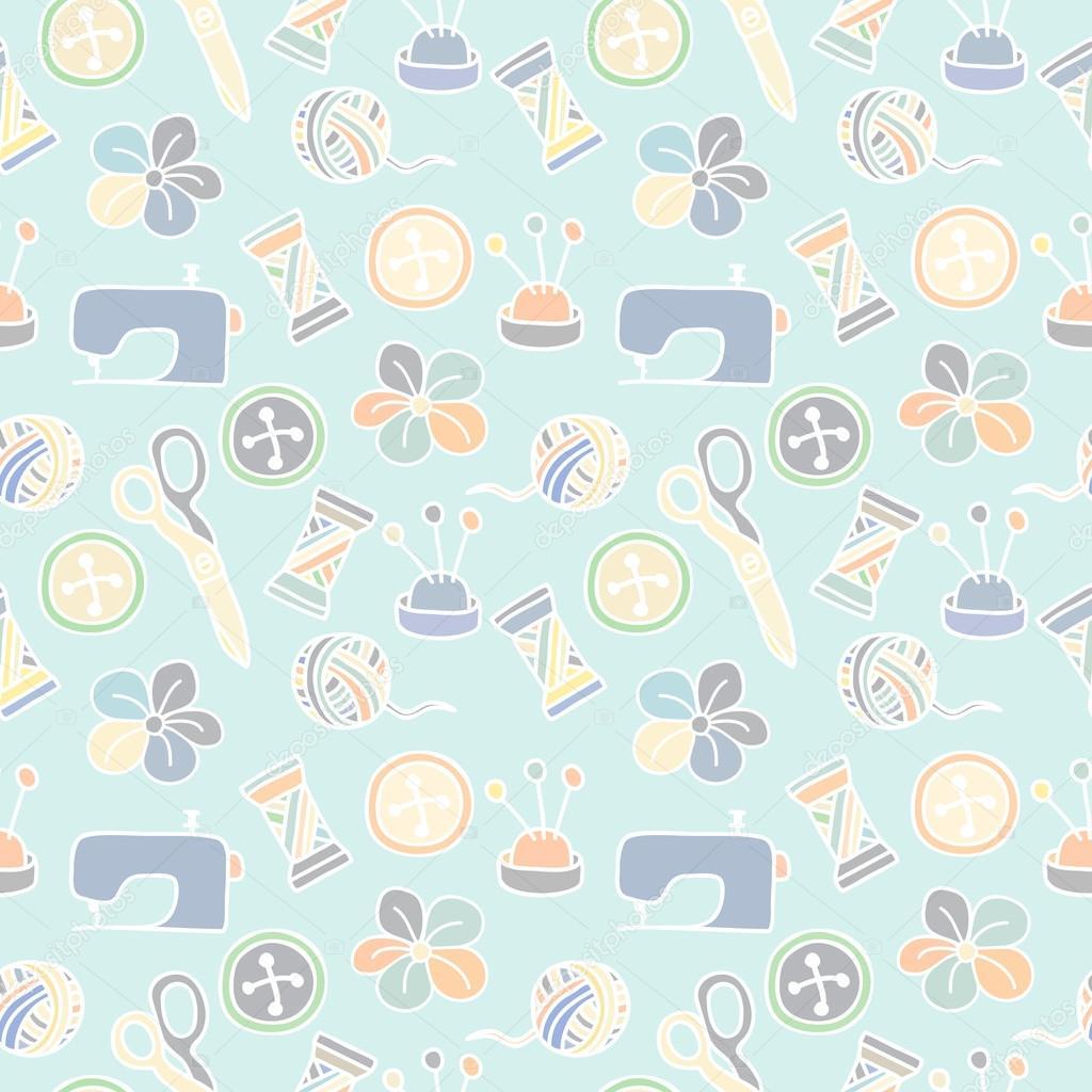 Nähen und Schneidern Elemente Muster — Stockvektor © lianella #52026875