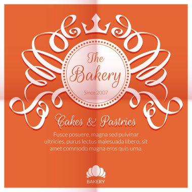 Retro card with bakery logo label. Premium quality emblem. Vector illustration stock vector