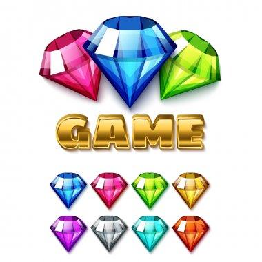 Diamond shaped gem icons set