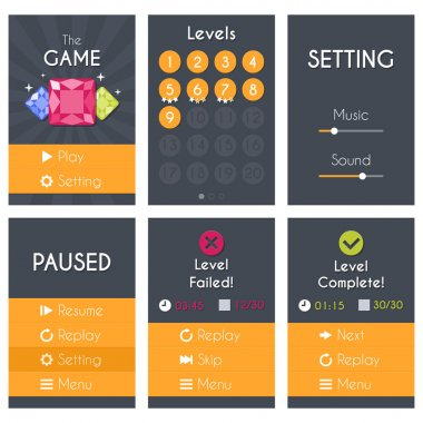 Flat Mobile Game Screens Set