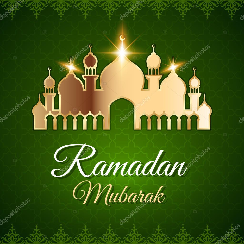 Ramadan Mubarak Greeting Card With Mosque Stock Vector Lianella