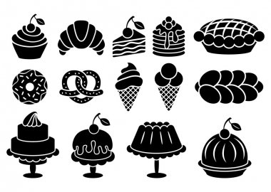 Sweet baked food silhouettes