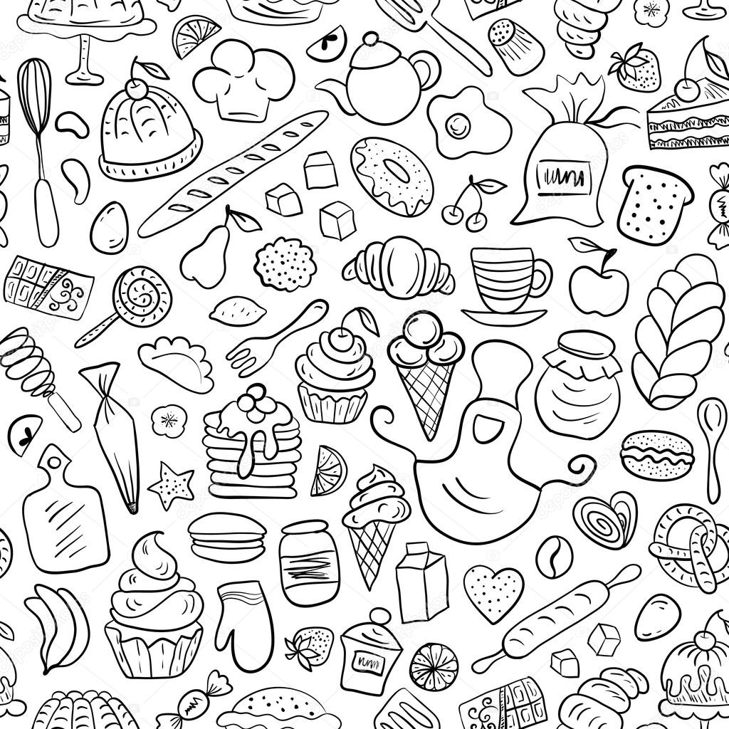 Baked cakes, fruits, kitchen tools  signs