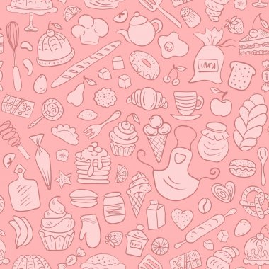 Hand drawn Bakery Seamless Pattern. Vector repeating background with baked cakes, fruit, kitchen tools clip art vector