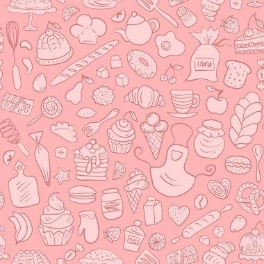 Hand drawn Bakery Seamless Pattern