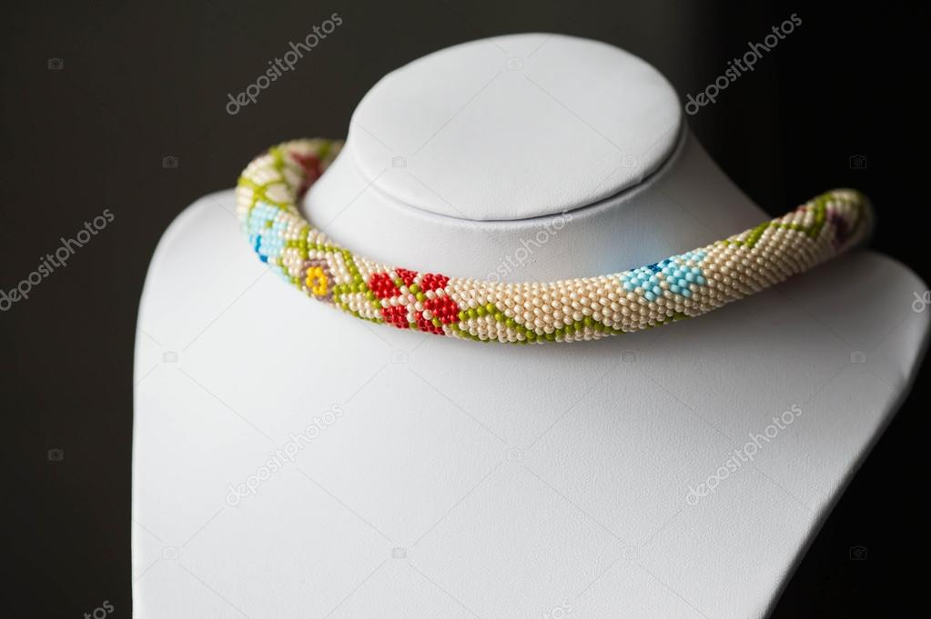 Beaded Crochet Necklace With Floral Pattern Close Up Stock Photo