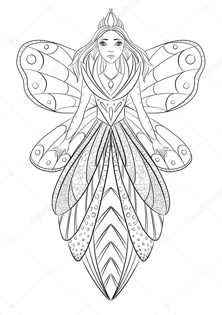 Art therapy coloring page illustration of a flower fairy queen ...