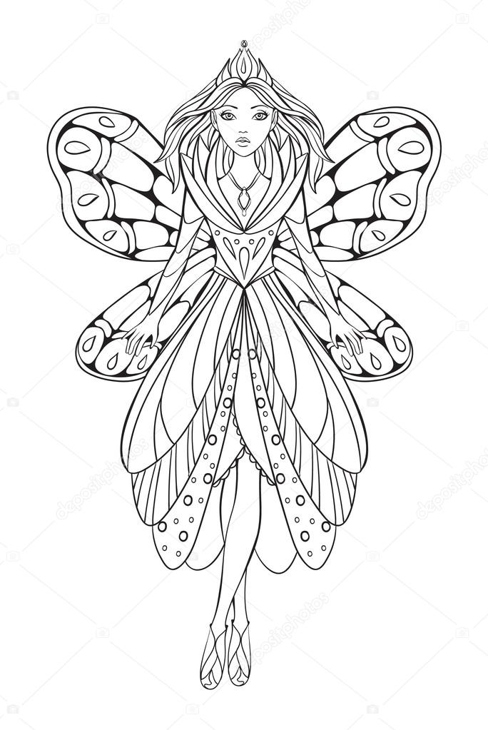 Vector Illustration Of A Beautiful Flower Fairy Queen For An Adult