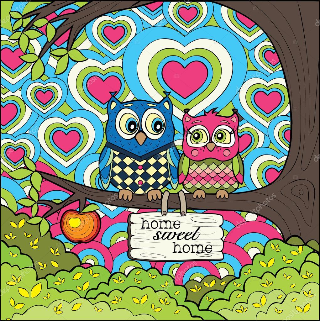 Süße Eulen - farbige Version der Kunsttherapie Färbung Seite ...