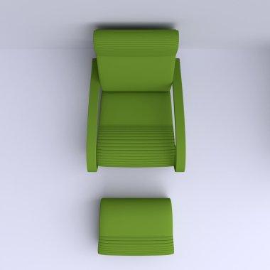 Armchair in corner of room.
