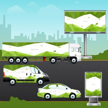 Passenger car, truck, bus and billboard