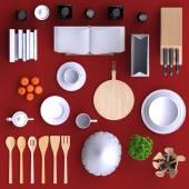 Fotografia cucina con tavolo e utensili da cucina