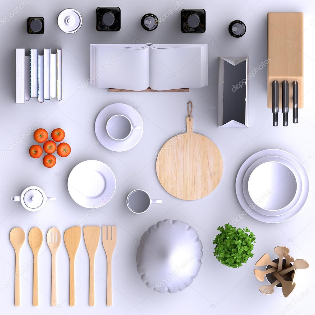Cocina con mesa y utensilios de cocina. — Foto de stock ...