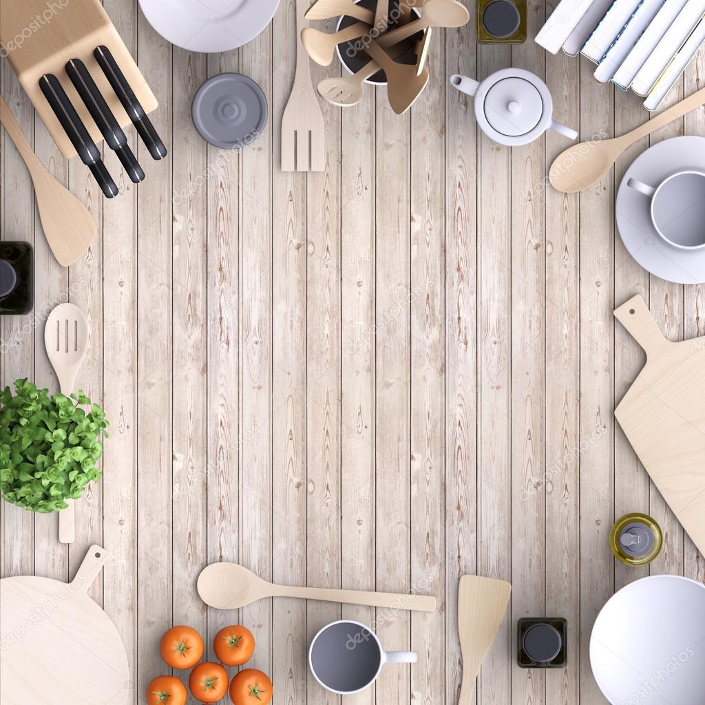 cucina con tavolo e utensili da cucina — Foto Stock © vvvisual ...