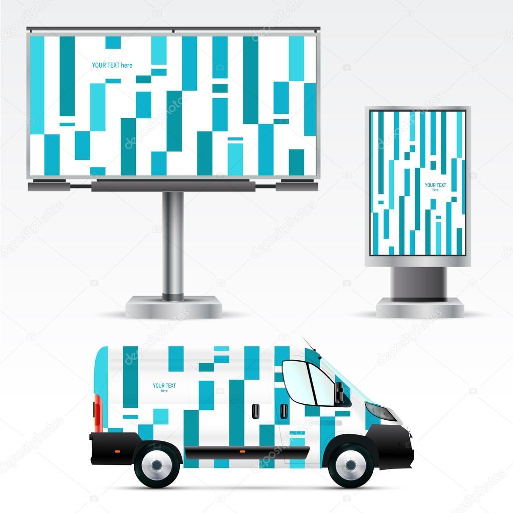 Plantilla de coche, billboard y citylight — Archivo Imágenes ...