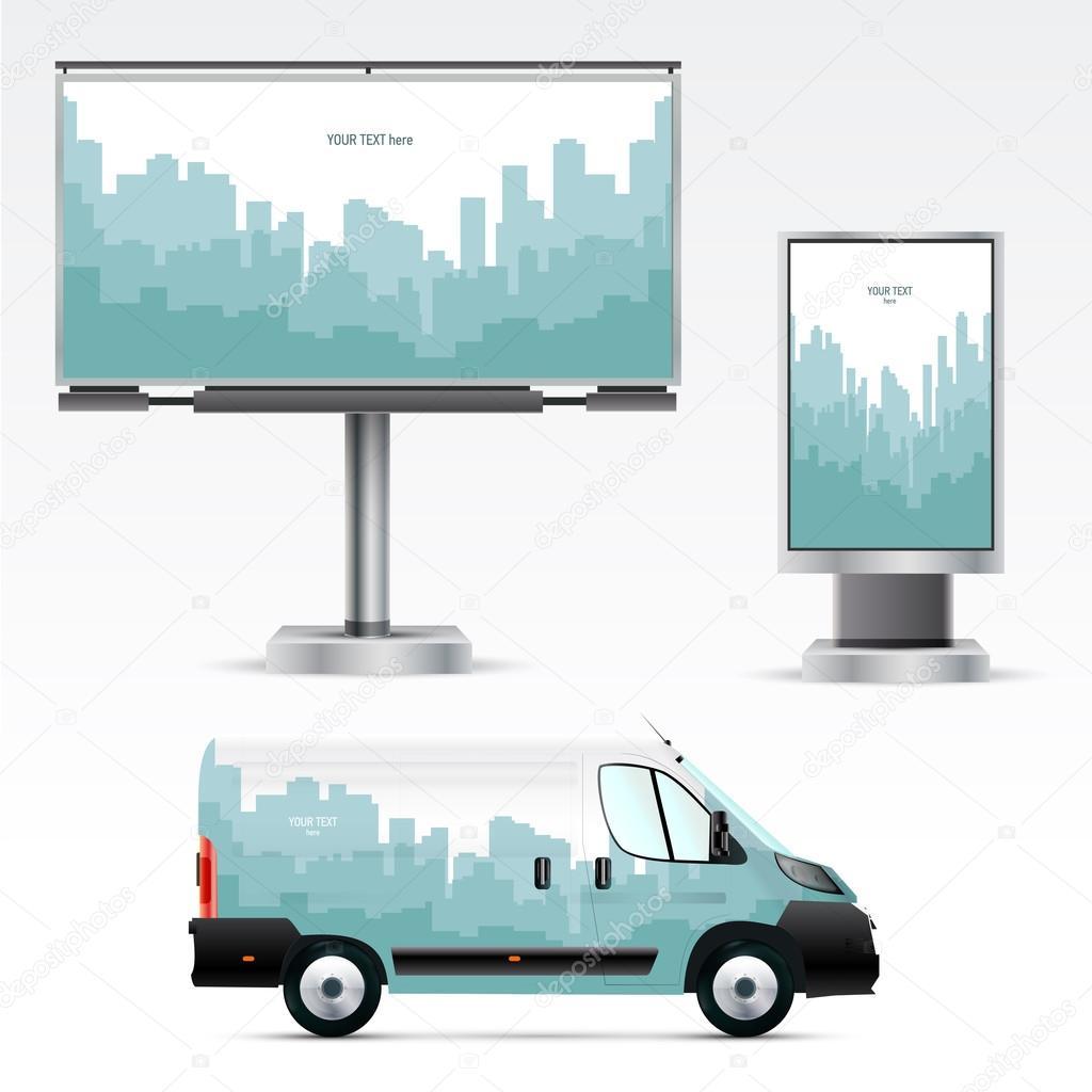 Plantilla de coche, billboard y citylight — Vector de stock ...