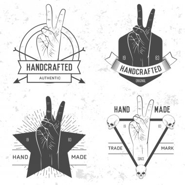 Business logotype  set with hand