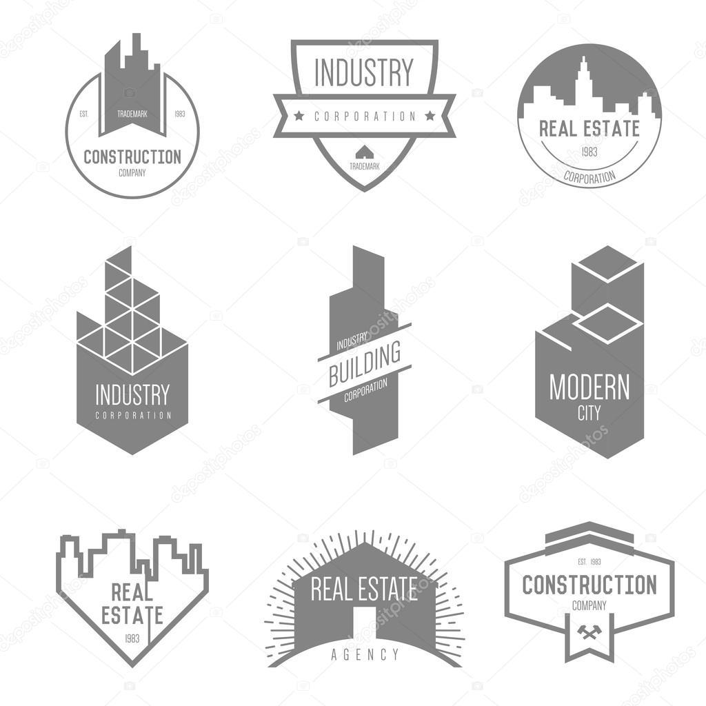 Real Estate Construction : Real estate construction companies logo — stock vector