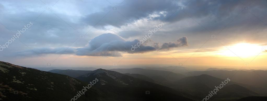 Beautiful panoramic view with sun