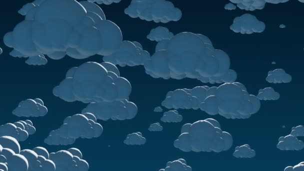 Cartoon flying clouds in the night sky.