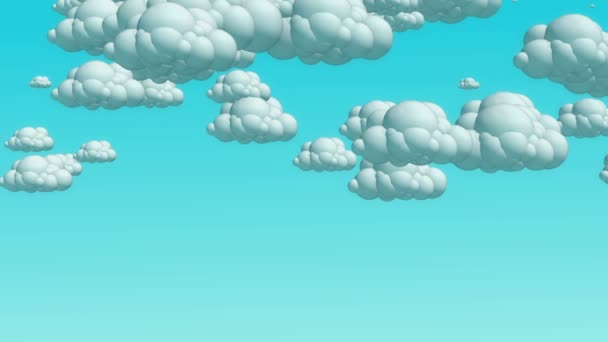 Cartoon flying clouds in the daytime sky.