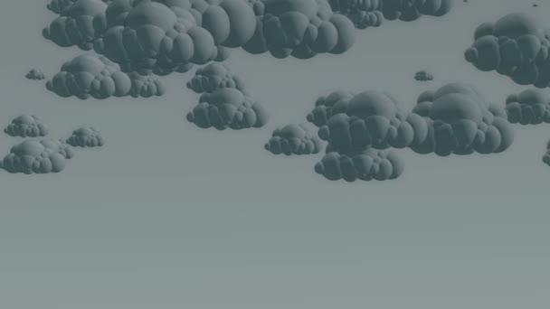 Cartoon flying rain clouds on a cloudy sky.