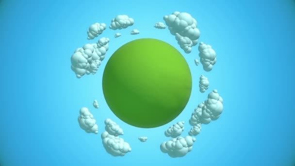 Cartoon green planet with flying clouds.