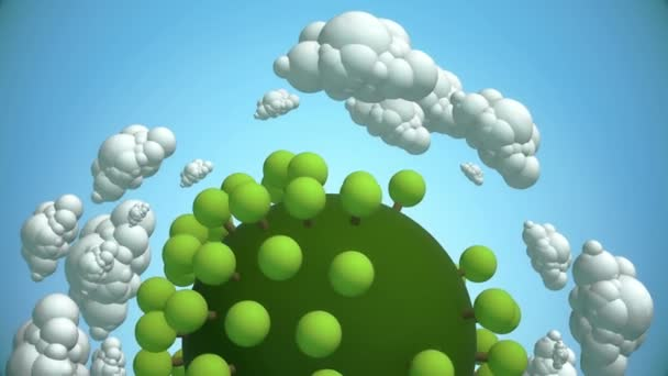 Cartoon planet with tree and flying clouds.