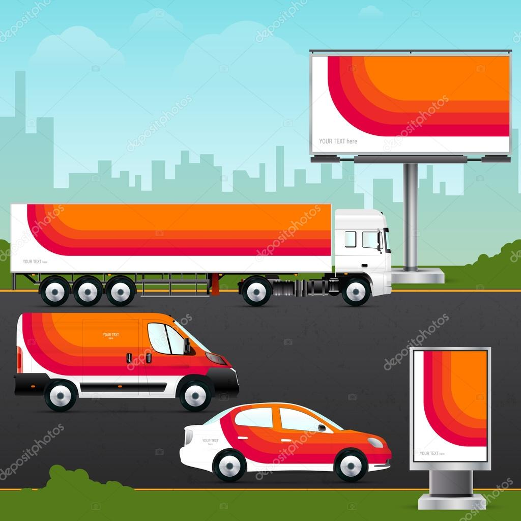 Template vehicle for outdoor advertising — Stock Vector
