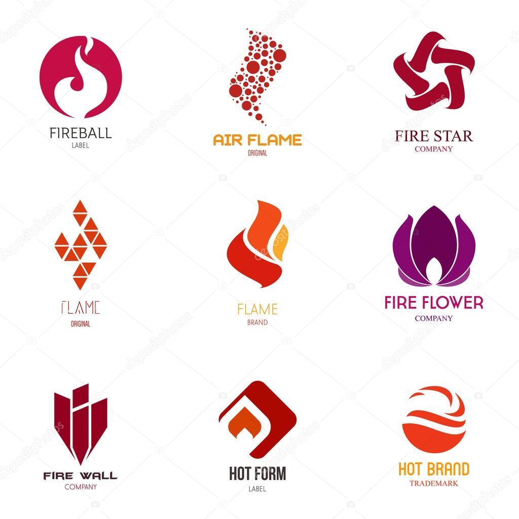 Vorlagen-Logos legen Sie mit dem Feuer — Stockvektor © vvvisual ...