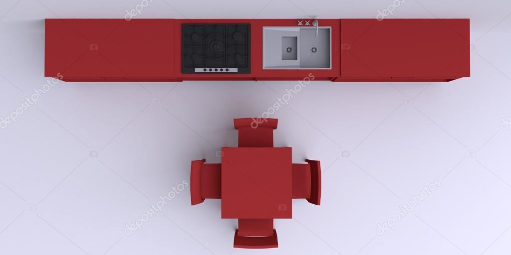 Muebles de cocina en la esquina de la habitación — Foto de stock ...