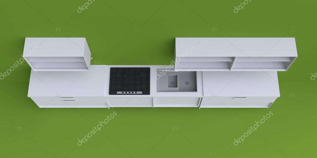 Muebles de cocina en la esquina de la habitación — Fotos de Stock ...