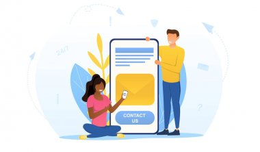 Customer loyalty and technical support web icon. Clients hotline. Abstract concept of website information. Contact us metaphor. Cartoon flat vector illustration. icon