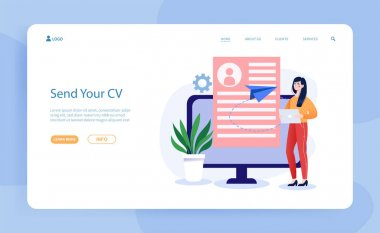 Female character is sending her CV document on computer. Concept of employment service, recruitment agency. Resume writing. Website, web page, landing page template. Flat cartoon vector illustration icon