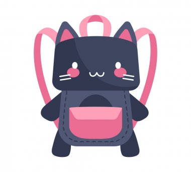 Cute purple and pink cat-shaped child backpack isolated on white background. Little child adorable backpack with pocket on cat belly. Elementary school backpack. Flat cartoon vector illustration icon