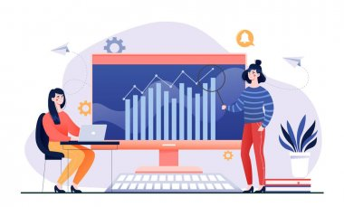 Two female business characters are working on big data analytics together. Women studying infographics with magnifier on big screen. Interprise strategy development. Flat cartoon vector illustration icon
