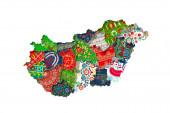 Különböző hímzési szimbólumokkal borított magyar térképek